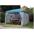 Pop-Up Striped Gazebo & FREE Curtains